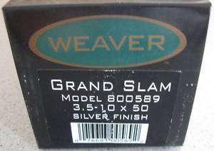 BRAND NEW Weaver Grand Slam 3.5 10x50 Rifle Scope 800589 SILVER Dual X