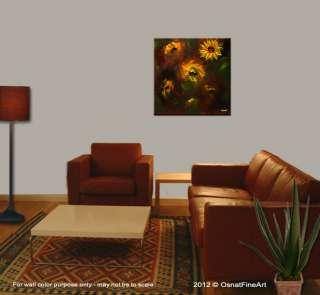 Original abstract contemporary MODERN fine art sunflowers FLORAL