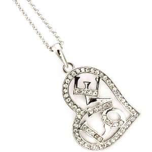 Gorgeous Silvertone Crystal Love in My Heart Necklace Jewelry