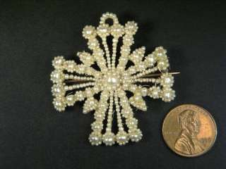 ANTIQUE GOLD SEED PEARL CROSS BROOCH PIN c1830