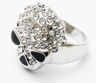 Wholesale 12Pcs Silver Skull Crystal Rhinestone Rings