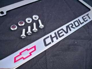 CHEVY CHROME & BLACK METAL LICENSE PLATE FRAME SCREWS CAPS W/ LOGO # 4