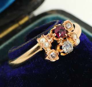 Art Nouveau 14Ct Rose Gold Diamond Ruby Ring Sz O or 7 c1910