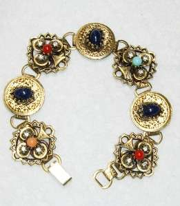 Multi Cabochon & Rhinestone Lucky Shamrock Bookchain Bracelet