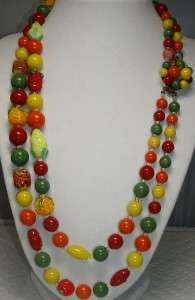1940s FRUIT SALAD Early Plastic & Molded Glass Double Strand