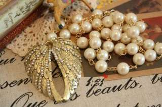 Angel Wing Pearls Palace Style Heart Fashion Necklace Z1019