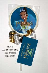 12 PRINCESS AND THE FROG Birthday LOLLIPOP STICKERS