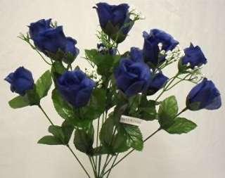 DARK BLUE Long Stem Silk Flower Bush Wedding Bridal Bouquet DIY