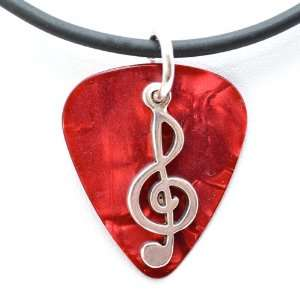 Guitar Pick Necklace with Music Clef Note Charm on Red