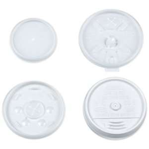 Dart 12UL White Plastic Sip Thru Lid For 12J12 Foam Cup (10 Packs of