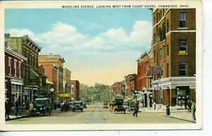 CAMBRIDGE OHIO DOWNTOWN STREET SCENE POSTCARD VINTAGE