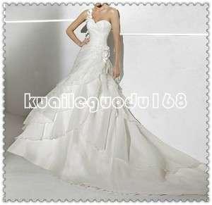 2012 NEW custom white one shoulder flowers multi layer wedding dress