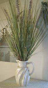 French Country Cottage Chic WHITE POTTERY PITCHER SEA GRASS Vase