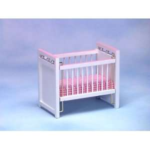 Dollhouse Miniature White/Pink Crib