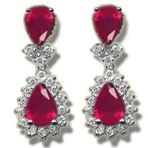 .50 ct Diamond & 1.50 ct Ruby & Diamond White Gold Earring