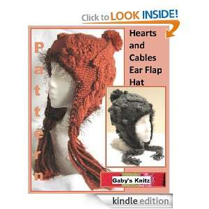 Hearts and Cables Ear Flap Hat Pattern Gabriele Burris