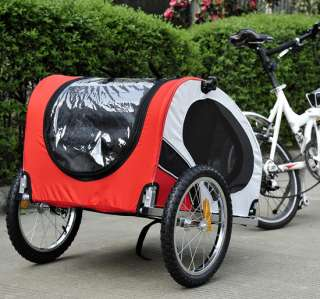 Dog Bike Bicyble Trailer Cat Carrier + Bicycle Hitch Red White