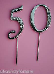 DIAMANTE 50 50th BIRTHDAY PARTY CAKE TOPPER DECORATION