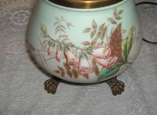 Victorian Oil Lamp Electric Painted Glass Globes Hurricane Lamp Signed