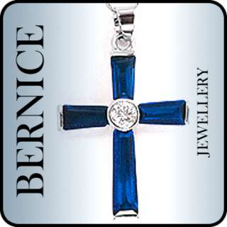 CHRISTMAS GIFT JEWELRY CROSS CUT BLUE SAPPHIRE WHITE GOLD GP PENDANT