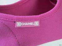 new CHANEL CC logo pink canvas sneakers athletic shoes 39 9   SUPER
