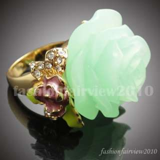 Green Rose Yellow Gold GP Enamel Leaf Swarovski Crystals Cocktail Ring