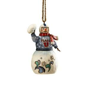 Jim Shore Heartwood Creek Snowman Playing Football Hanging Ornament, 3