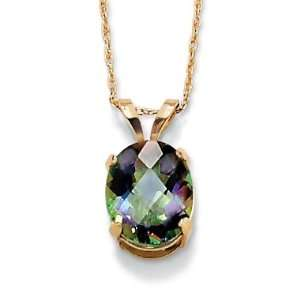 10k Gold Multi Faceted Oval Cut Mystic Topaz Pendant and Chain