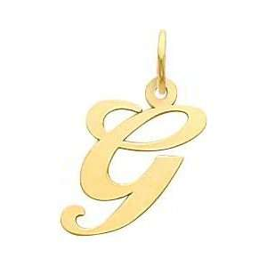 Fancy Cursive Letter G Charm 14K Gold: Jewelry