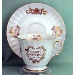 Happy Anniversary Cup and Saucer: Home & Kitchen