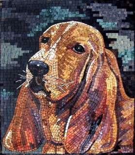Cute Dog Marble Mosaic Tiles Stone Art Wall Mural