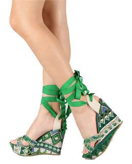 New Bamboo Green Booster 06 Printed Criss Cross Wedge Platform Sandals