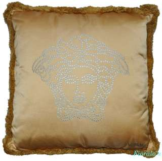 VERSACE Medusa Gold Silver Pillow   17.7  Silk