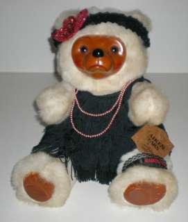 Raikes Flapper ZELDA Bear By Applause Wood Stuffed Plush Teddy Bear