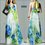 Butterfly Print Sexy Plunge V neck Halter Satin Prom Dress 09615YL