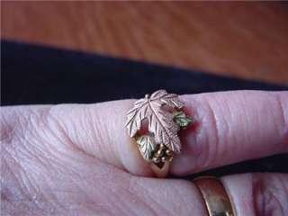 Vintage Black Hills tricolor gold leaf style ring estate 10 kt