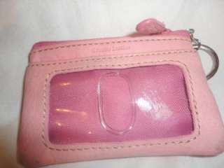 Fossil Leather Change Coin Purse Wallet Pink Genuine Leather Small Key