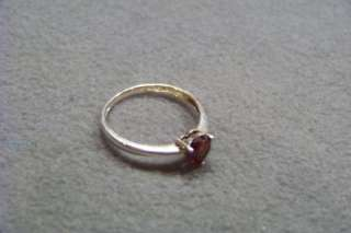 ANTIQUE STERLING SILVER FANCY HEART GARNET BAND RING 9