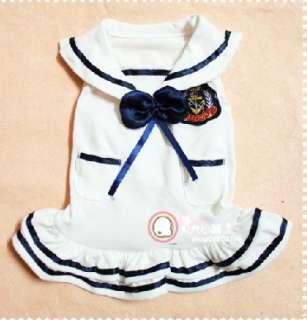 Navy Uniform Sailor Dress Clothes Bow Blue White for Doggie Puppy