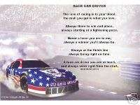 RACE CAR DRIVER Poem Prayer Personalized Name Print