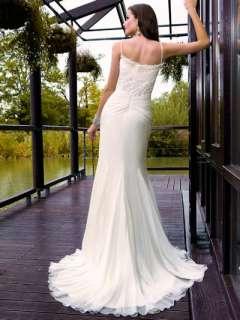 Ivory Spaghetti straps Chiffon Wedding Prom Dress SizeUS2 28