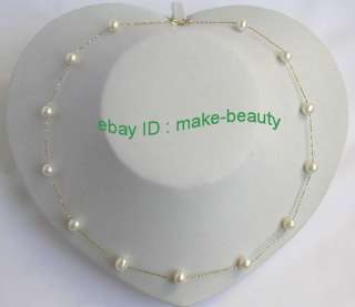 stunning 8mm round white pearls 14K gold chain necklace