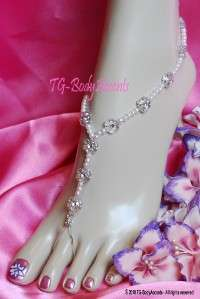 Barefoot Sandals   Foot Jewelry   Beach Wedding   Flowers & Pearls 2pc