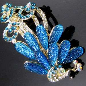 Item , AUT rhinestone crystal peacock hair barrette clip