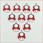 lot wholesale 10pcs super mario bros red mushroom metal charm pendants