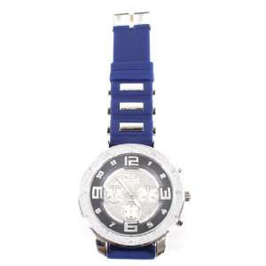 Blue Solid Big Face Hip Hop Rubber Banded Watch with a Free