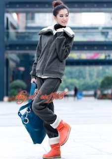 Fur Sweatsuit Tracksuit Long Sportswear Outfit Set Jacket Pants