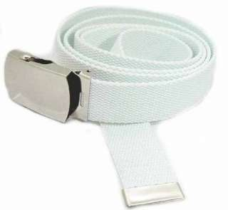 Mens White Military Canvas Web Belt Silver Buckle