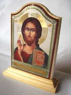 JESUS CHRIST Orthodox Icon on Wooden Stand (Metallograph 3.8x2.4 inch