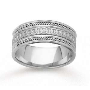 14k White Gold Rings Milgrain Hand Carved Wedding Band Jewelry